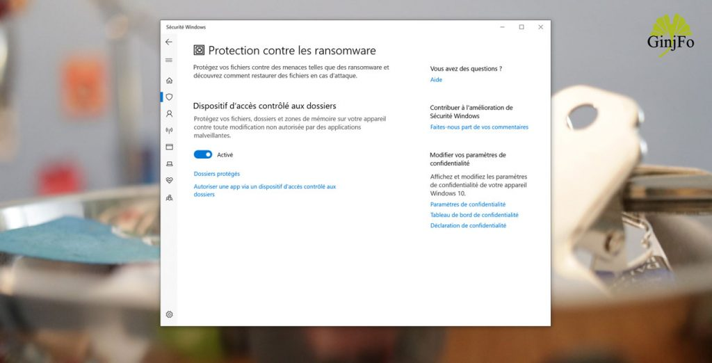 Sécurité Windows et la Protection contre les ransomware