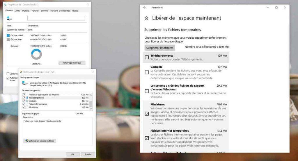 Windows 10 v1809 – Fonction de nettoyage de disque
