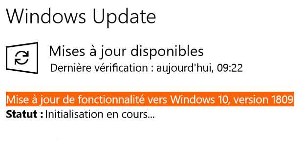 Windows 10 v1809 est disponible sous Windows Update