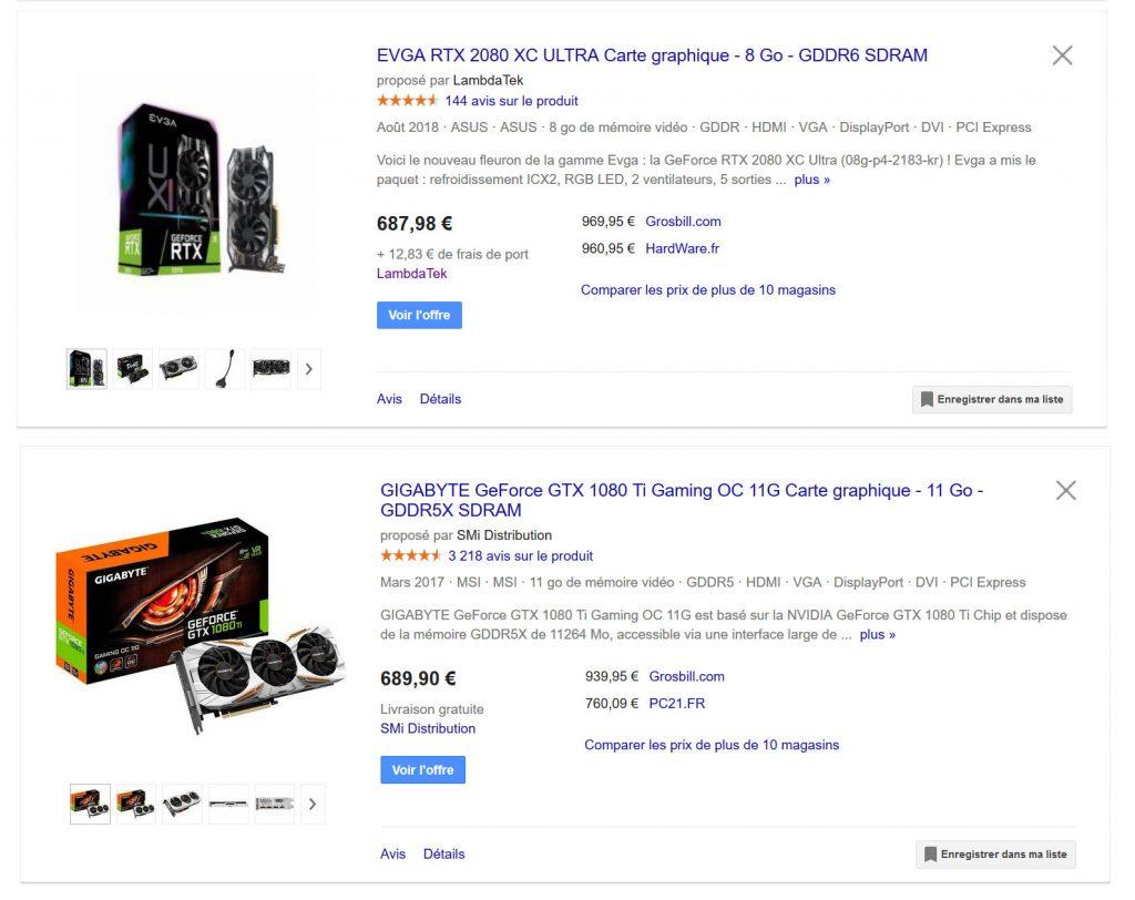 Tarifs des GeForce 1080 Ti et RTX 2080 le 6/11/2018