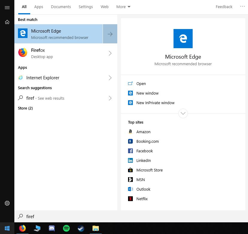"""Résultat de la requête """"Firef"""" dans le module de recherche de Windows 10."""