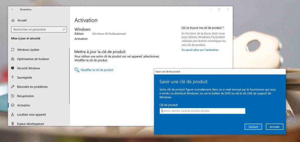 Windows 10 - Activation avec une clé de produit Windows 7