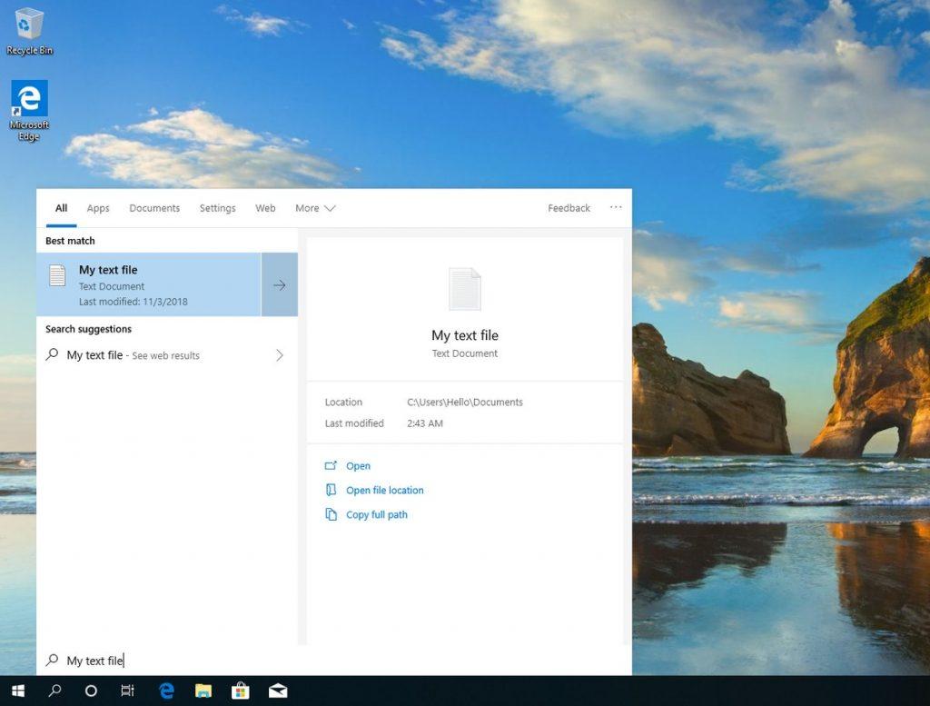Windows 10 19H1, le bureau
