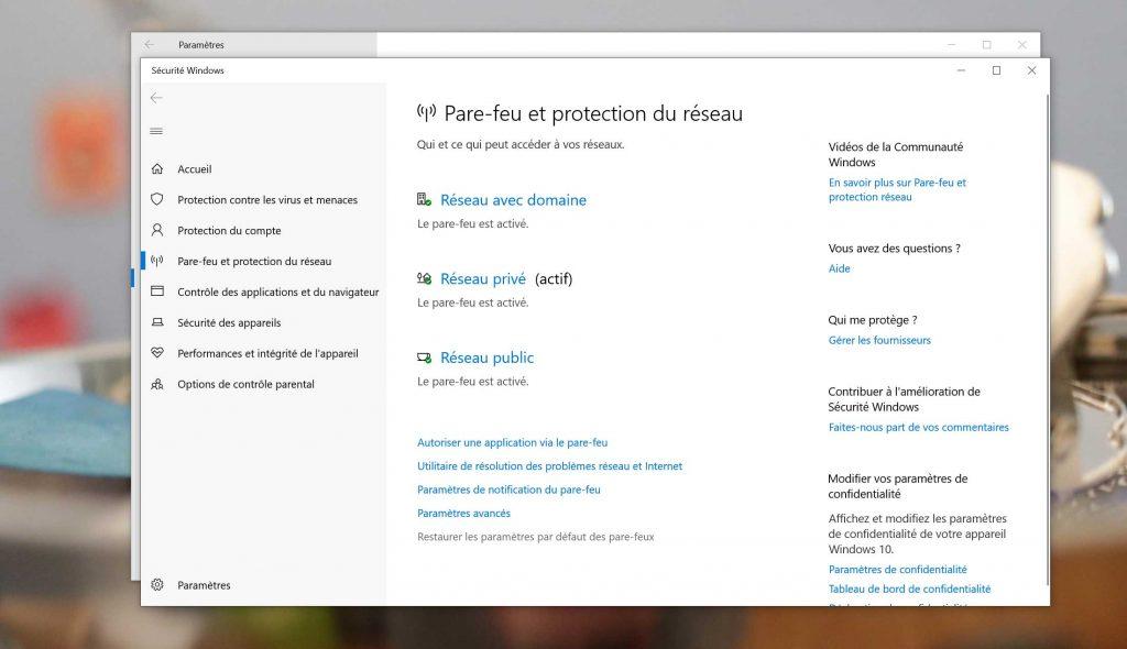 Windows 10 et le Pare-feu