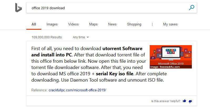 Bing met en avant un site proposant de pirater Office 2019