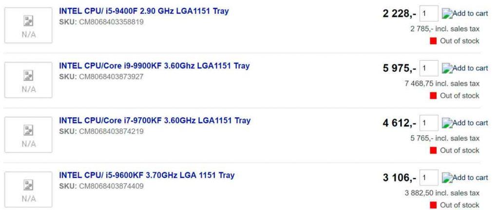 Processeurs Intel Core iX 9000 KF series