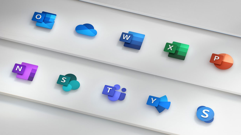 Suite bureautique Microsoft Office, nouvelles icones