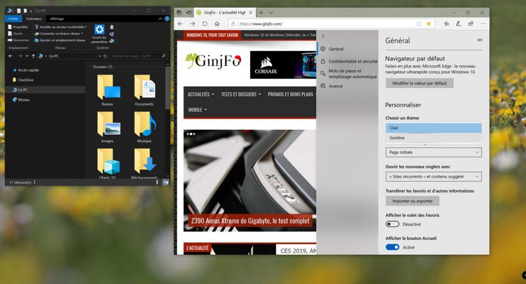 Windows 10 v1809, comment activer le thème sombre pour l'explorateur de fichiers ?
