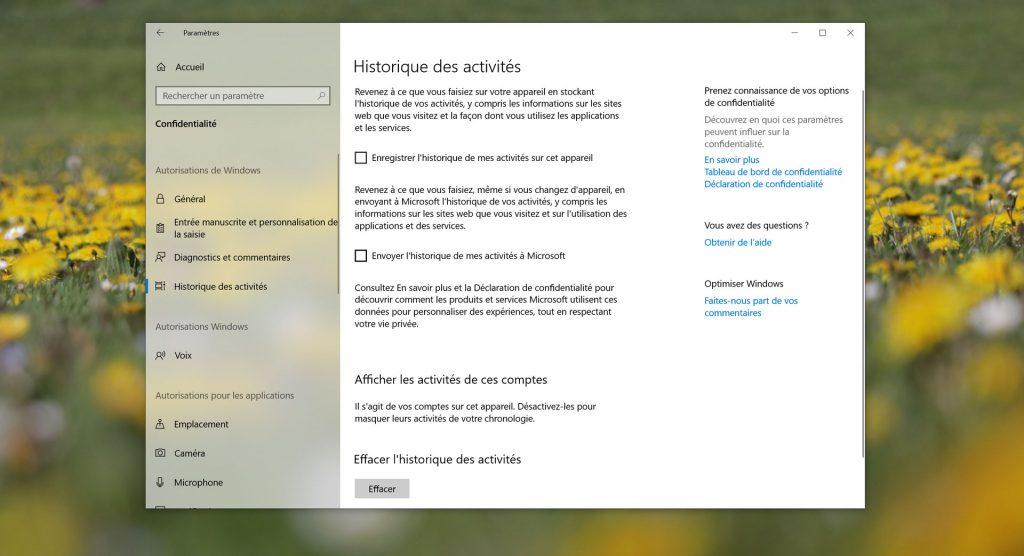 Windows 10 - Historique des activités