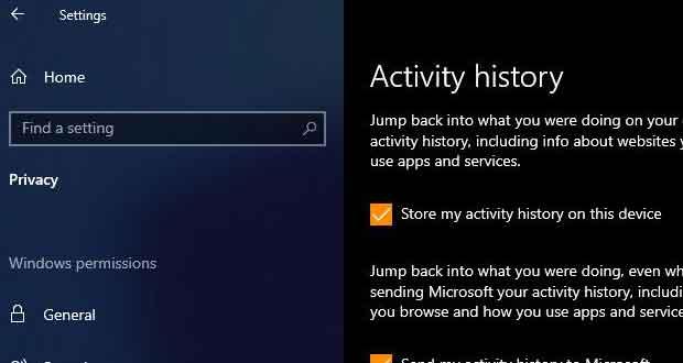 Windows 10 et l'historique des activités