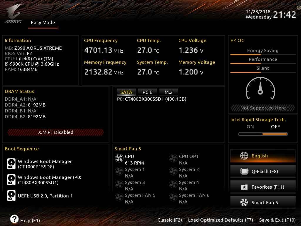 Carte mère Z390 Aorus Xtreme de Gigabyte - BIOS