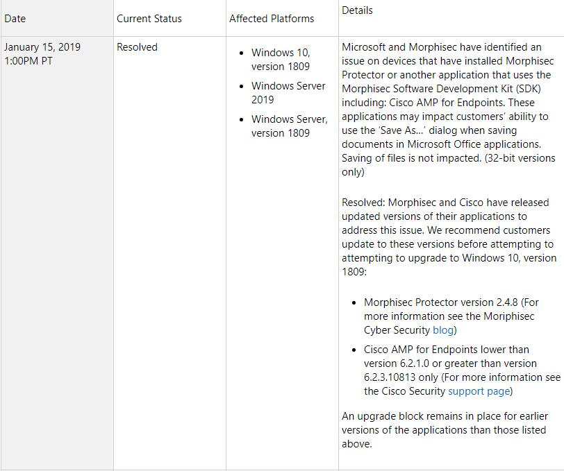 Windows 10 v1809 , correction du bug Cisco