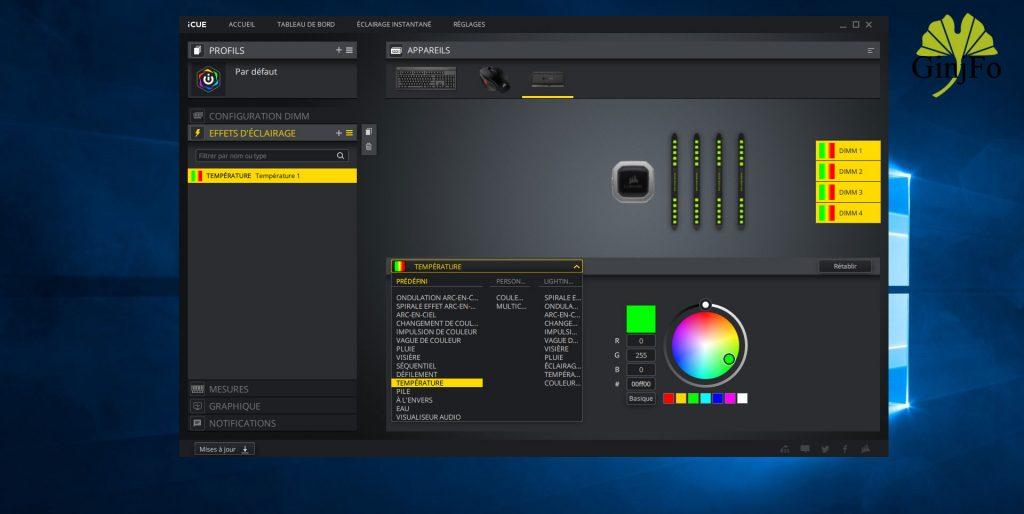 Dominator Platinum RGB (DDR4-3200 CL14) - Application iCUE