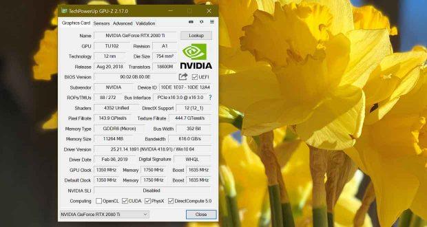 Utilitaire GPU-Z v2.17.0