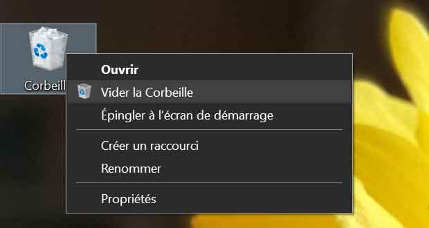 Windows 10 et vider la corbeille