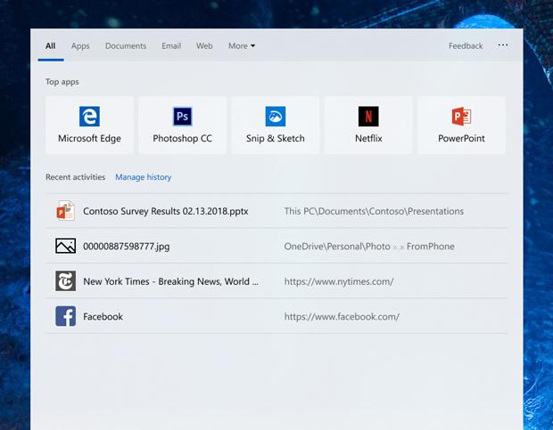 Windows 10 build 18329 – module de recherche