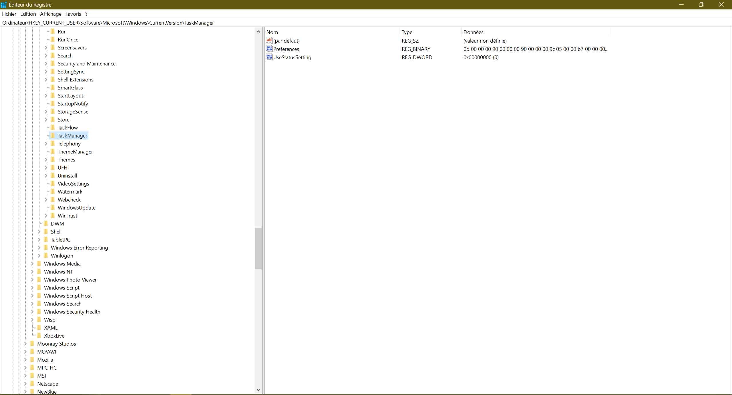 Gestionnaire des tâches de Windows 10