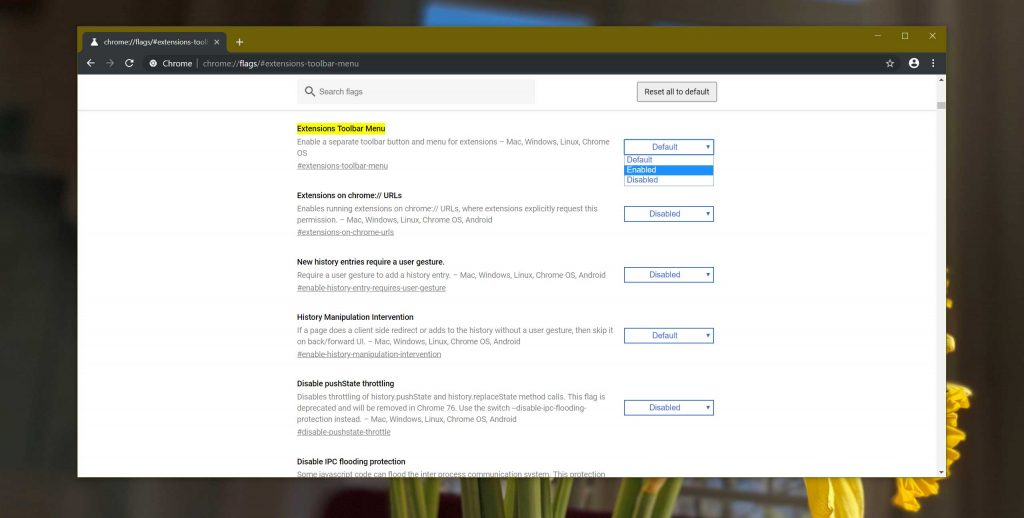 Navigateur Google Chrome Canary et le menu des extensions