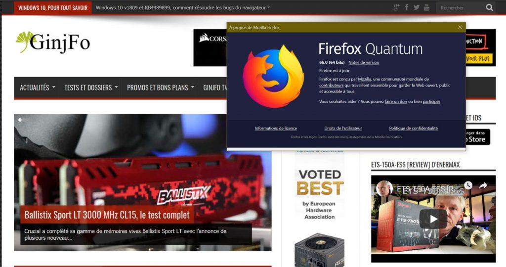Navigateur Firefox 66 de Mozilla