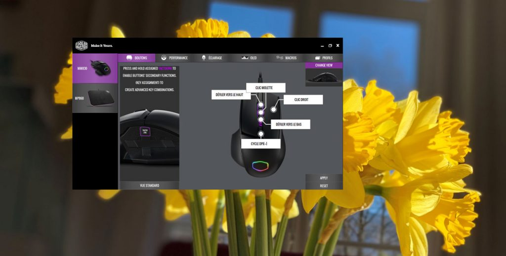 Souris MM830 de Cooler Master - Application Portal