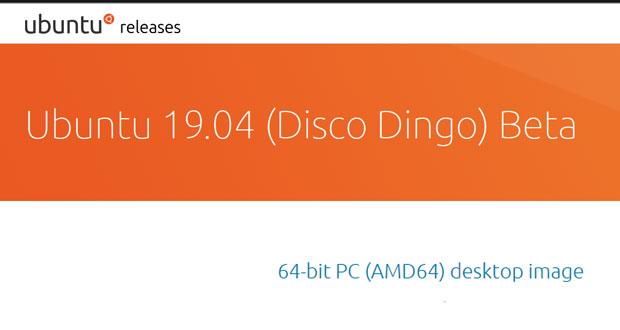 Ubuntu 1904 (Disco Dingo) bêta
