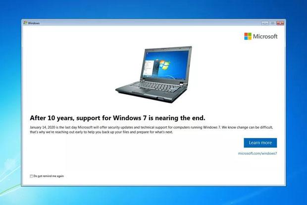 Windows 7, notification de fin de vie
