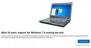 Windows 7 et la notification EOL