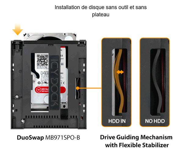 Installation de disque sans outil et sans plateau