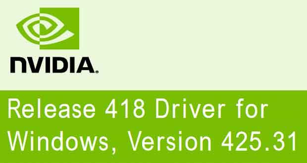 Drivers GeForce 425.31 WHQL de Nvidia