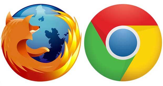 Navigateurs Internet Google Chrome et Mozilla Firefox