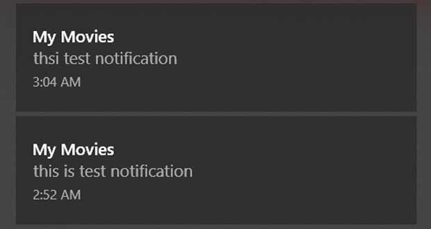 Windows 10 et les notifications de My Movies