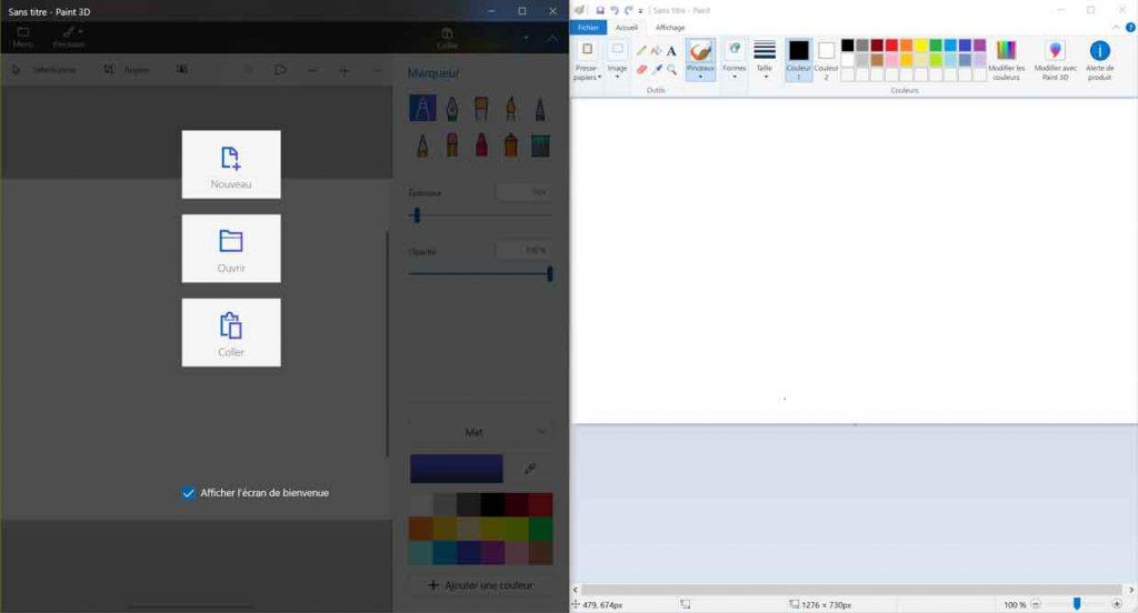 Applications Paint et Paint 3D de Windows 10