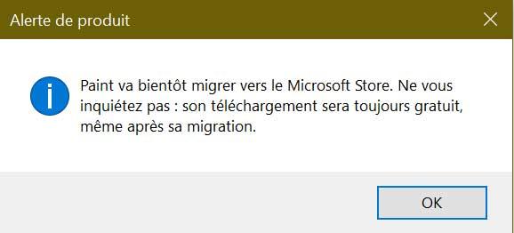 Application Paint de Windows 10 - Avertissement produit