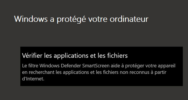 Filtre Windows Defender SmartScreen de Windows 10