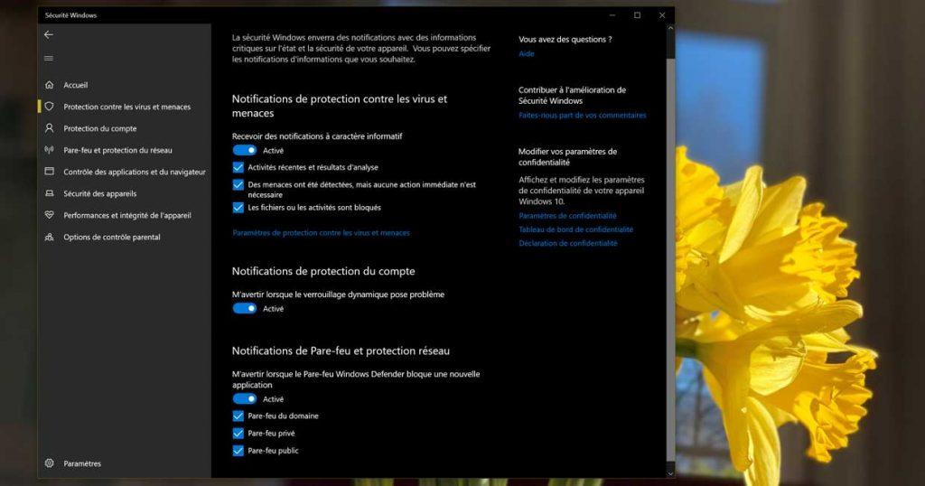 Windows 10 et les notifications de Windows Defender