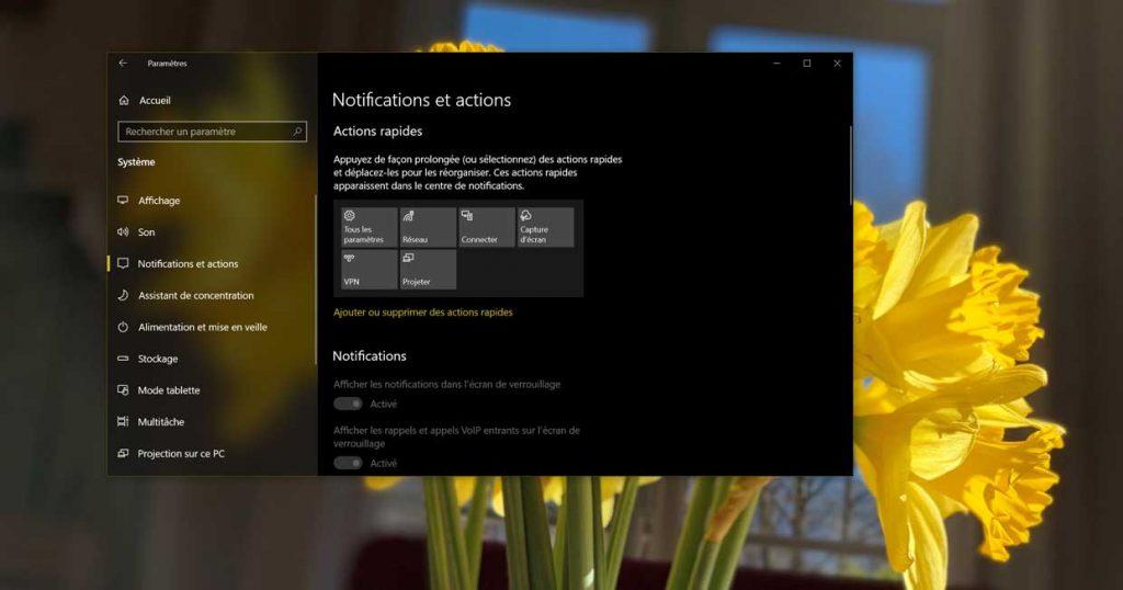 Windows 10, les notifications et actions