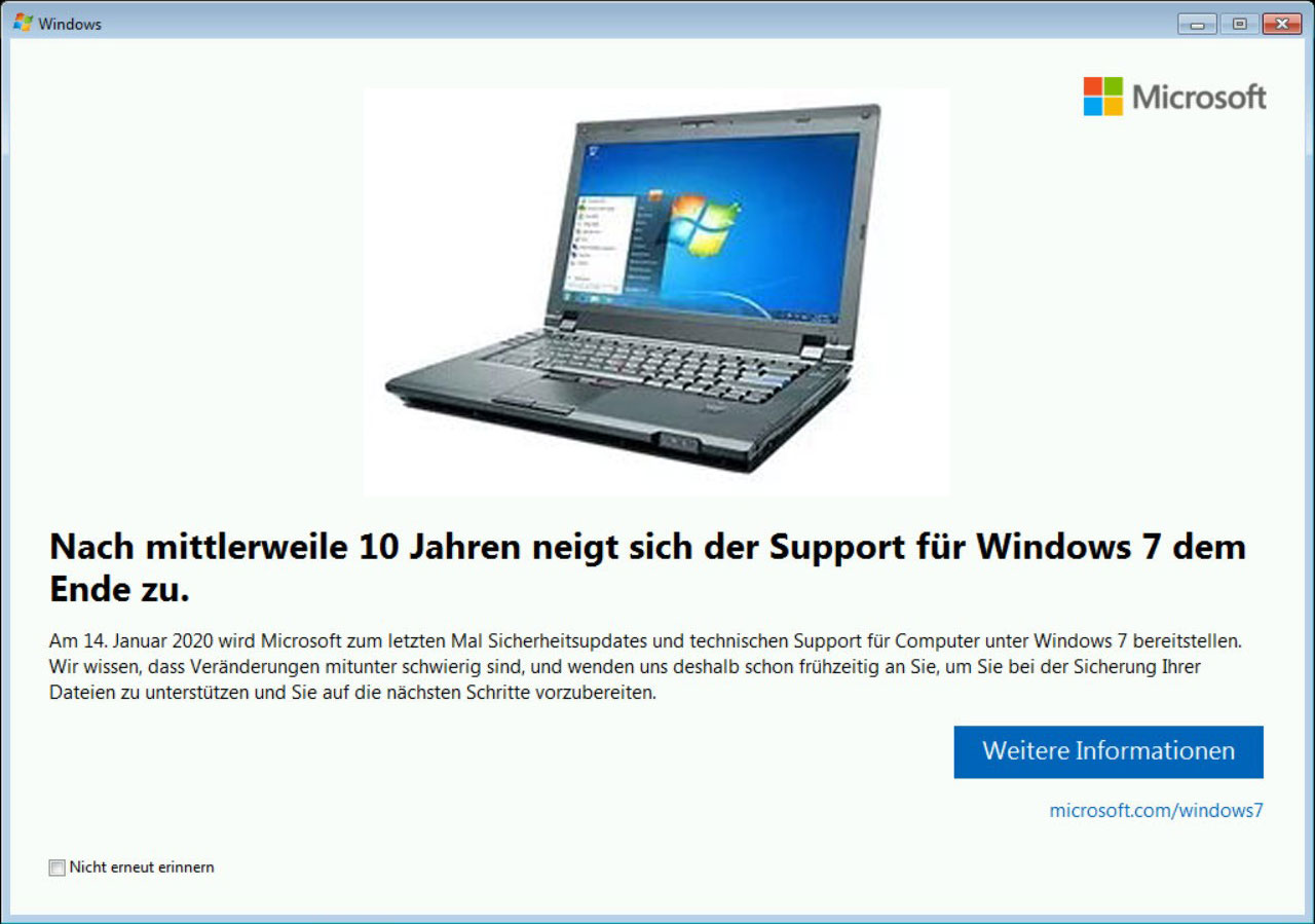 Windows 7 et la notification EOL