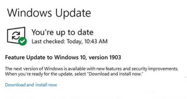 Windows 10 May 2019 Update – Option « Télécharger et Installer maintenant »