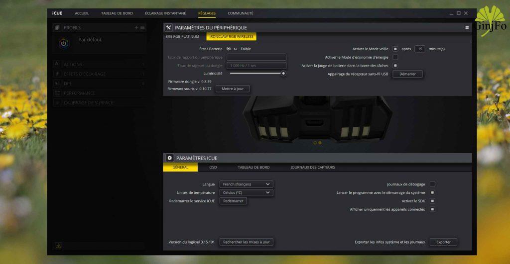 Ironclaw RGB Wireless - Application iCUE