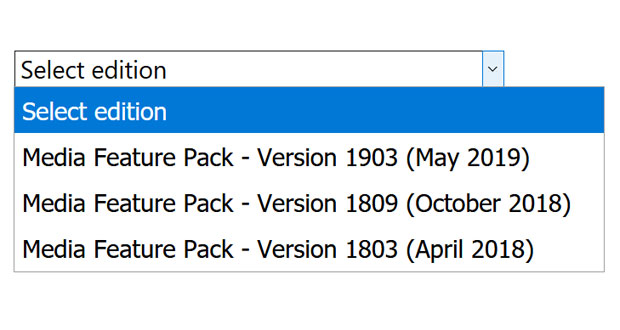 Media Feature Pack pour Windows 10 v1903 - GinjFo