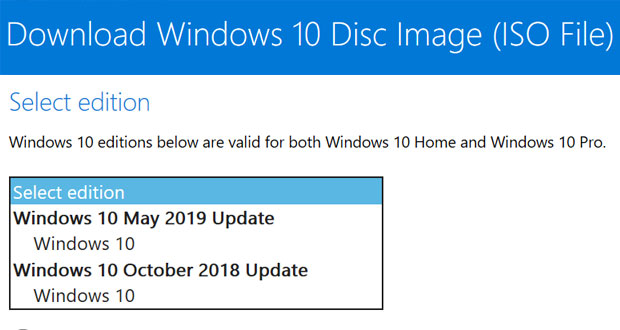 Windows 10 May 2019 Update, les ISOs d'installation sur la page officielle de Microsoft