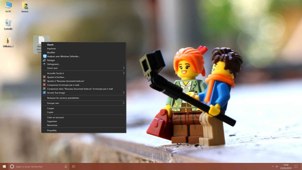 Windows 10 - Menu contextuel