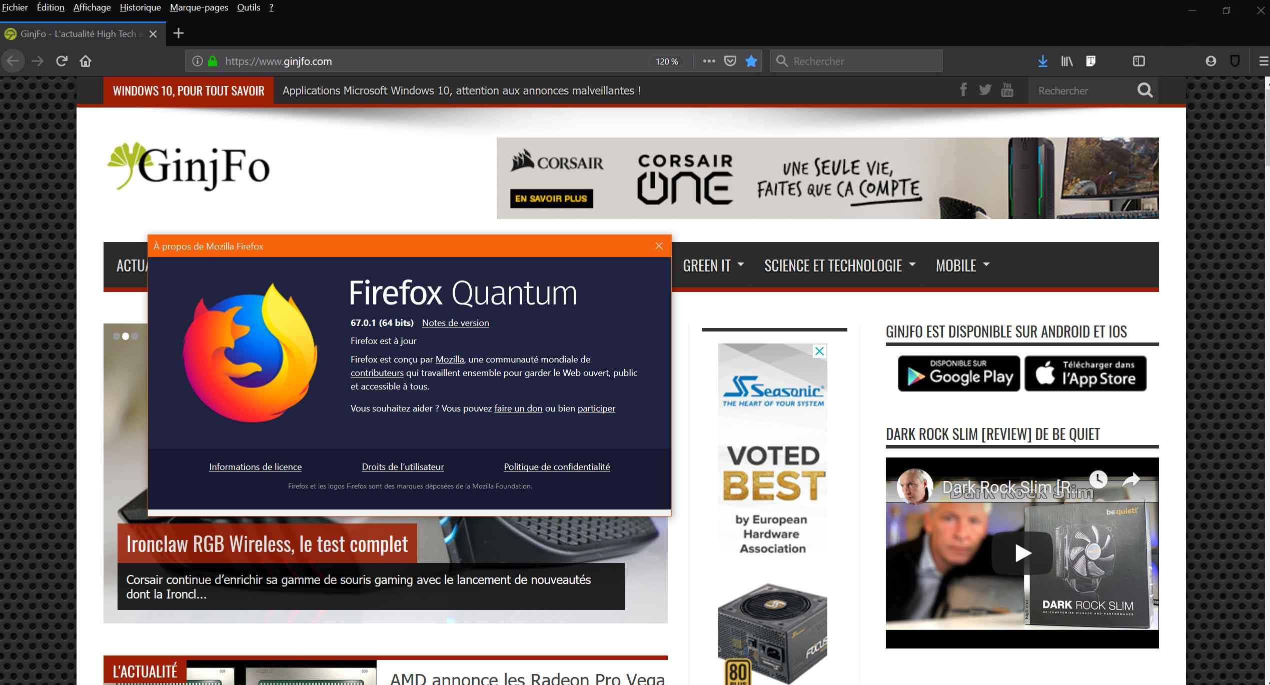 Navigateur Mozilla Firefox 67.0.1