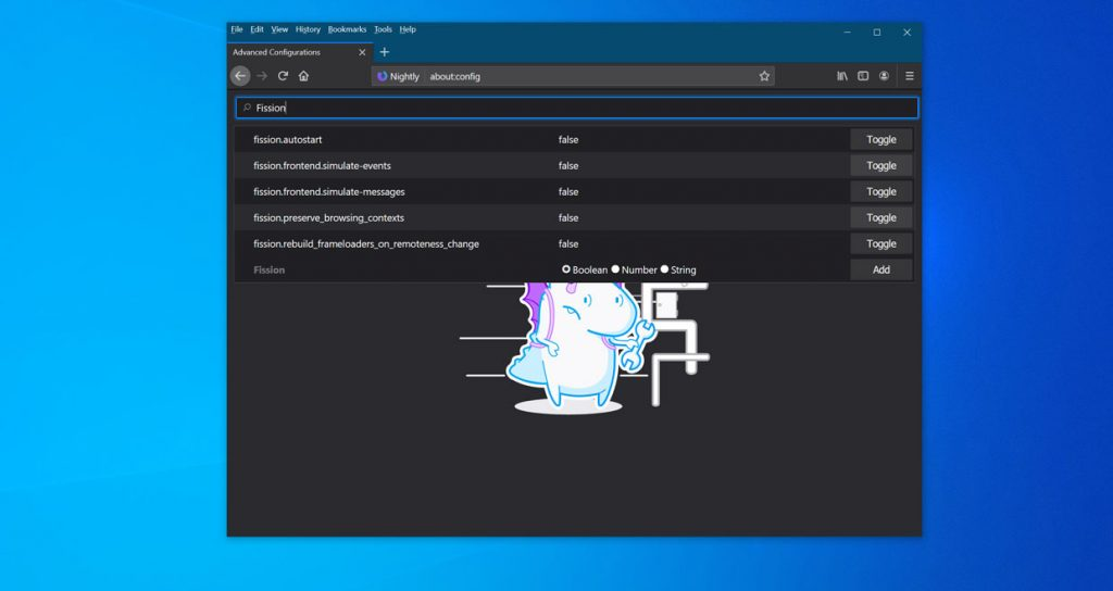 Navigateur Firefox Nightly de Mozilla et la fonction Fission