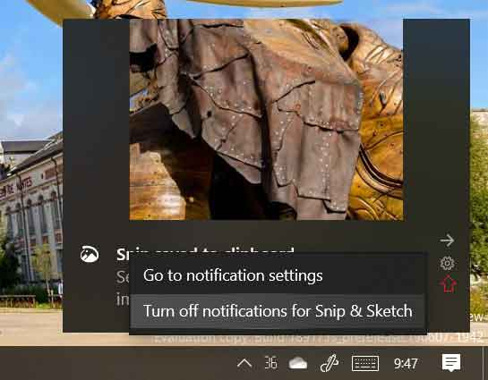 Centre de notification - Nouvelle icône paramètres pour une notification