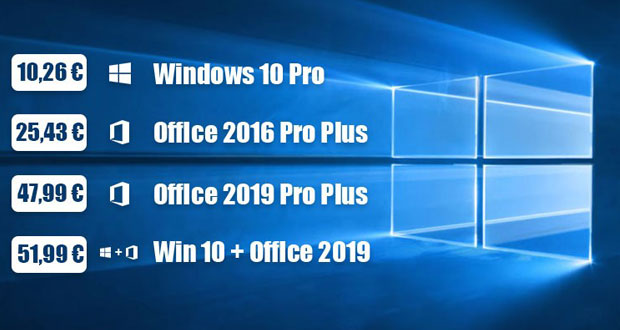 Windows 10 et Office 2016/2019, promotions