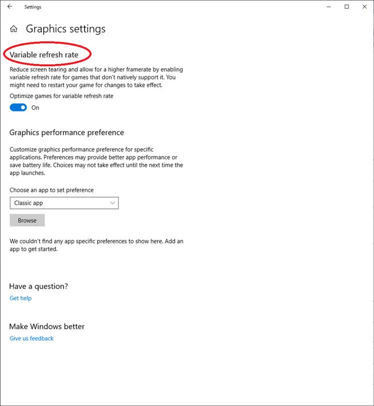 Windows 10 May 2019 Update - Option VRR