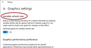 Windows 10 May 2019 Update - Option VRR (Variable Refresh Rate)