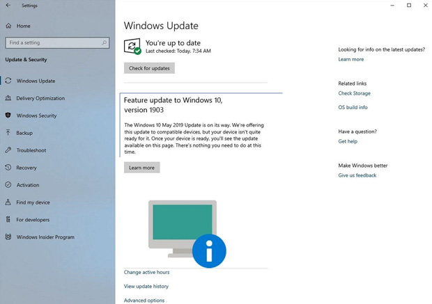 Windows 10 May 2019 Update, un nouvel avertissement de Windows Update