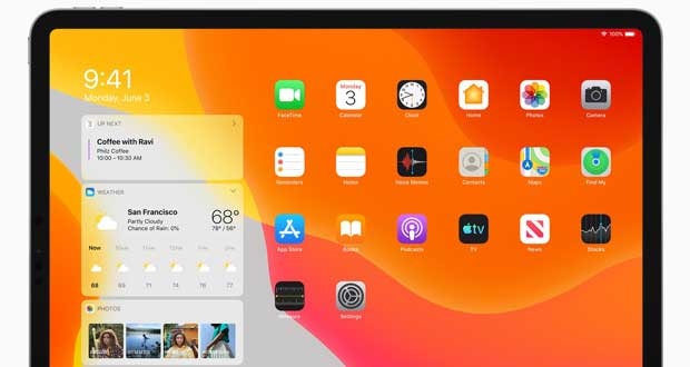 Tablette iPad sous iPadOS 13